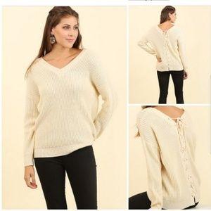 Umgee Ivory Chunky Knit Lace Up Sweater